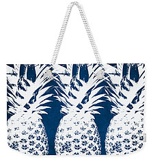 Indigo And White Pineapples Weekender Tote Bag by Linda Woods
