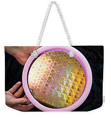 Weekender Tote Bag featuring the photograph Integrated Circuits On Silicon Wafer by Science Source