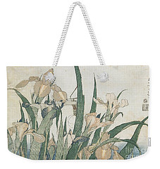 Iris Flowers And Grasshopper Weekender Tote Bag by Hokusai