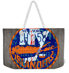 Islanders Hockey Team Retro Logo Vintage Recycled New York License Plate Art Weekender Tote Bag by Design Turnpike