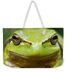 It's Not Easy Being Green _ Tree Frog Portrait Weekender Tote Bag by Roeselien Raimond
