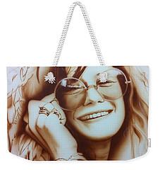 Janis Joplin - ' Janis ' Weekender Tote Bag by Christian Chapman Art