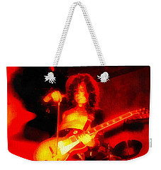 Jimmy Page On Fire Weekender Tote Bag by Dan Sproul