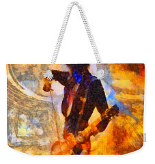 Jimmy Page Playing Guitar With Bow Weekender Tote Bag by Dan Sproul
