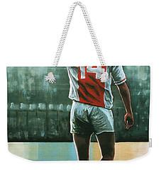 Johan Cruijff Nr 14 Painting Weekender Tote Bag by Paul Meijering
