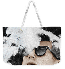 John F Kennedy Cigar And Sunglasses Weekender Tote Bag by Tony Rubino