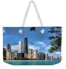 John Hancock Chicago Skyline Panorama Weekender Tote Bag by Christopher Arndt