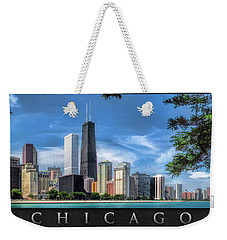 John Hancock Chicago Skyline Panorama Poster Weekender Tote Bag by Christopher Arndt
