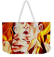 Johnny Cash And It Burns Weekender Tote Bag by Joshua Morton