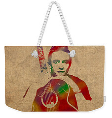 Johnny Cash Watercolor Portrait On Worn Distressed Canvas Weekender Tote Bag by Design Turnpike