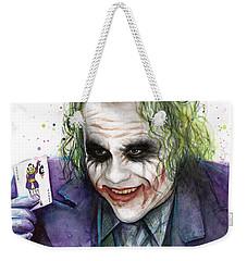 Joker Watercolor Portrait Weekender Tote Bag by Olga Shvartsur