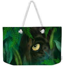 Jungle Eyes - Panther Weekender Tote Bag by Carol Cavalaris