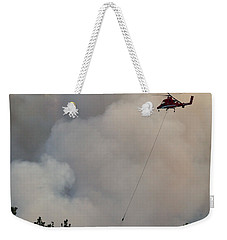 Weekender Tote Bag featuring the photograph K-max Helicopter On Myrtle Fire by Bill Gabbert