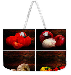 Kitchen Ingredients Collage Weekender Tote Bag by Lourry Legarde