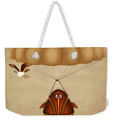Kiwi Bird Kev Parachuting Weekender Tote Bag by Marlene Watson