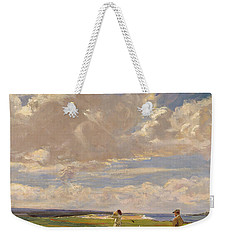 Lady Astor Playing Golf At North Berwick Weekender Tote Bag by Sir John Lavery