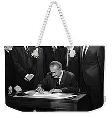 Lbj Signs Civil Rights Bill Weekender Tote Bag by Underwood Archives Warren Leffler