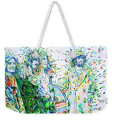 Led Zeppelin - Watercolor Portrait.2 Weekender Tote Bag by Fabrizio Cassetta
