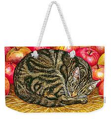Left Hand Apple Cat Weekender Tote Bag by Ditz