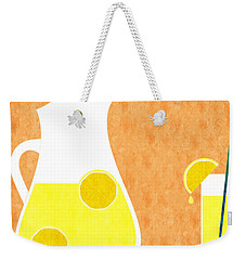 Lemonade And Glass Orange Weekender Tote Bag by Andee Design