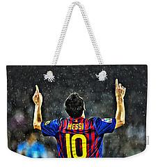 Leo Messi Poster Art Weekender Tote Bag by Florian Rodarte