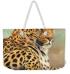 Leopard Weekender Tote Bag by David Stribbling