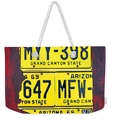 License Plate Map Of Arizona By Design Turnpike Weekender Tote Bag by Design Turnpike