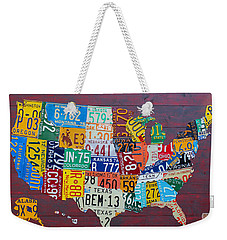 License Plate Map Of The United States Weekender Tote Bag by Design Turnpike