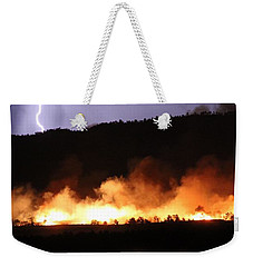 Weekender Tote Bag featuring the photograph Lightning During Wildfire by Bill Gabbert