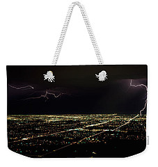 Lightning In The Sky Over A City Weekender Tote Bag by Panoramic Images
