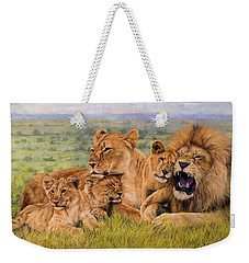 Lion Family Weekender Tote Bag by David Stribbling