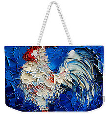 Little White Rooster Weekender Tote Bag by Mona Edulesco