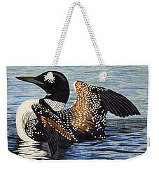 Loon In Flight Weekender Tote Bag by Brenda Brown