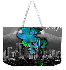 Los Angeles Map And Skyline Watercolor Weekender Tote Bag by Marvin Blaine