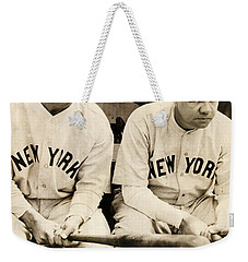 Lou Gehrig And Babe Ruth Weekender Tote Bag by Bill Cannon