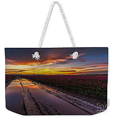 Magenta Fields Tulips Weekender Tote Bag by Mike Reid