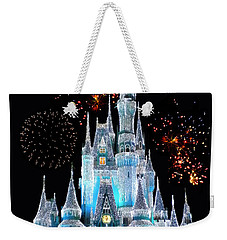 Magic Kingdom Castle In Frosty Light Blue With Fireworks 06 Weekender Tote Bag by Thomas Woolworth