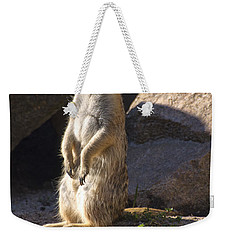 Meerkat Looking Left Weekender Tote Bag by Chris Flees
