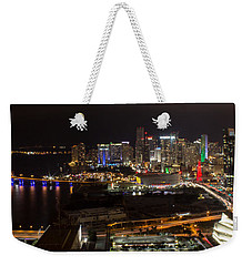 Miami After Dark II Skyline  Weekender Tote Bag by Rene Triay Photography