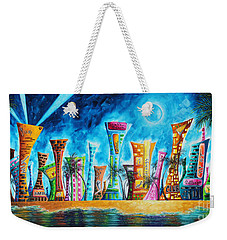 Miami City South Beach Original Painting Tropical Cityscape Art Miami Night Life By Madart Absolut X Weekender Tote Bag by Megan Duncanson