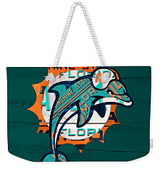 Miami Dolphins Football Team Retro Logo Florida License Plate Art Weekender Tote Bag by Design Turnpike