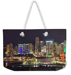 Miami Downtown Skyline American Airlines Arena Weekender Tote Bag by Rene Triay Photography