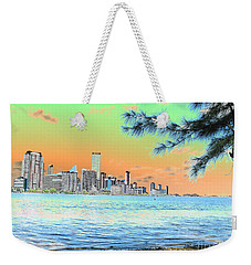 Miami Skyline Abstract II Weekender Tote Bag by Christiane Schulze Art And Photography