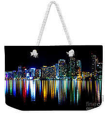 Miami Skyline High Res Weekender Tote Bag by Rene Triay Photography