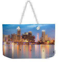 Miami Skyline On A Still Night- Soft Focus  Weekender Tote Bag by Rene Triay Photography