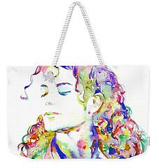 Michael Jackson - Watercolor Portrait.6 Weekender Tote Bag by Fabrizio Cassetta