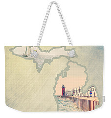 Michigan Mitten 2 Weekender Tote Bag by Emily Kay