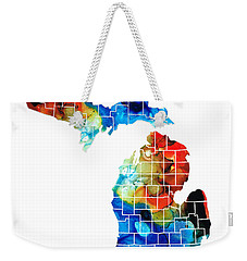 Michigan State Map - Counties By Sharon Cummings Weekender Tote Bag by Sharon Cummings