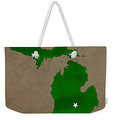 Michigan State University Spartans East Lansing College Town State Map Poster Series No 004 Weekender Tote Bag by Design Turnpike