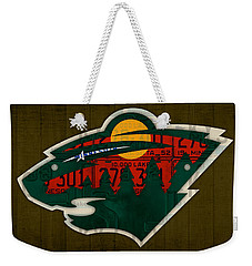 Minnesota Wild Retro Hockey Team Logo Recycled Land Of 10000 Lakes License Plate Art Weekender Tote Bag by Design Turnpike